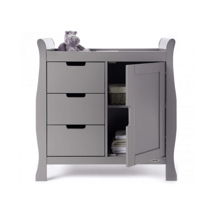 Obaby Stamford 3 Piece Room Set - Taupe Grey Changer Open
