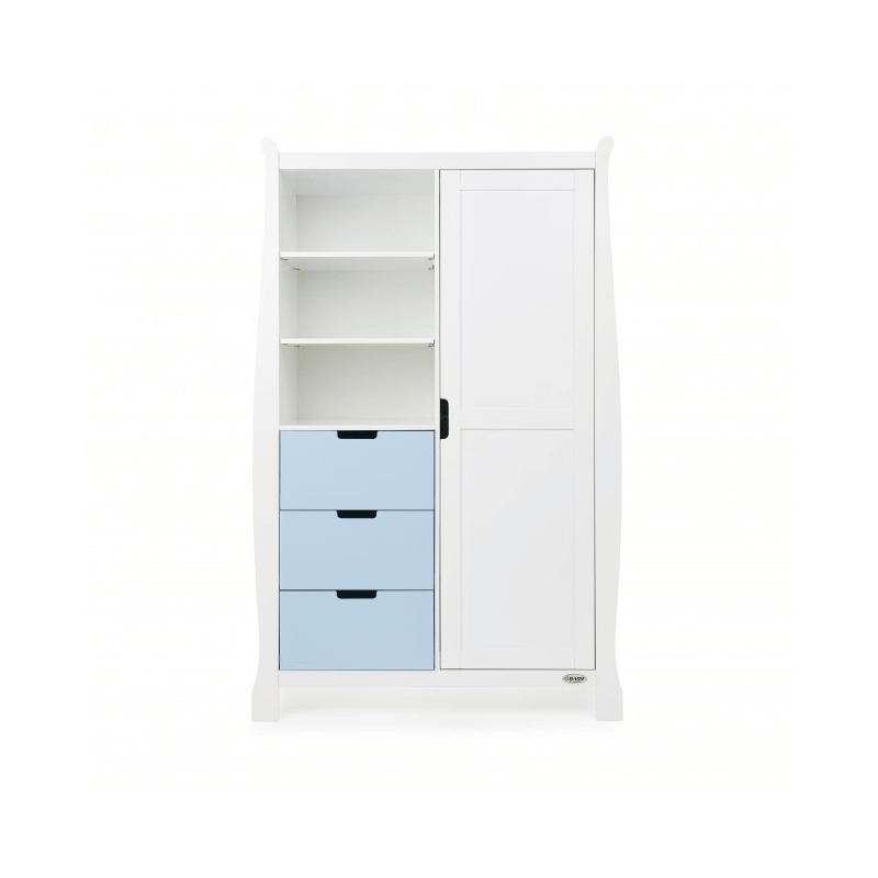 Obaby Stamford Double Wardrobe - White with Bonbon Blue