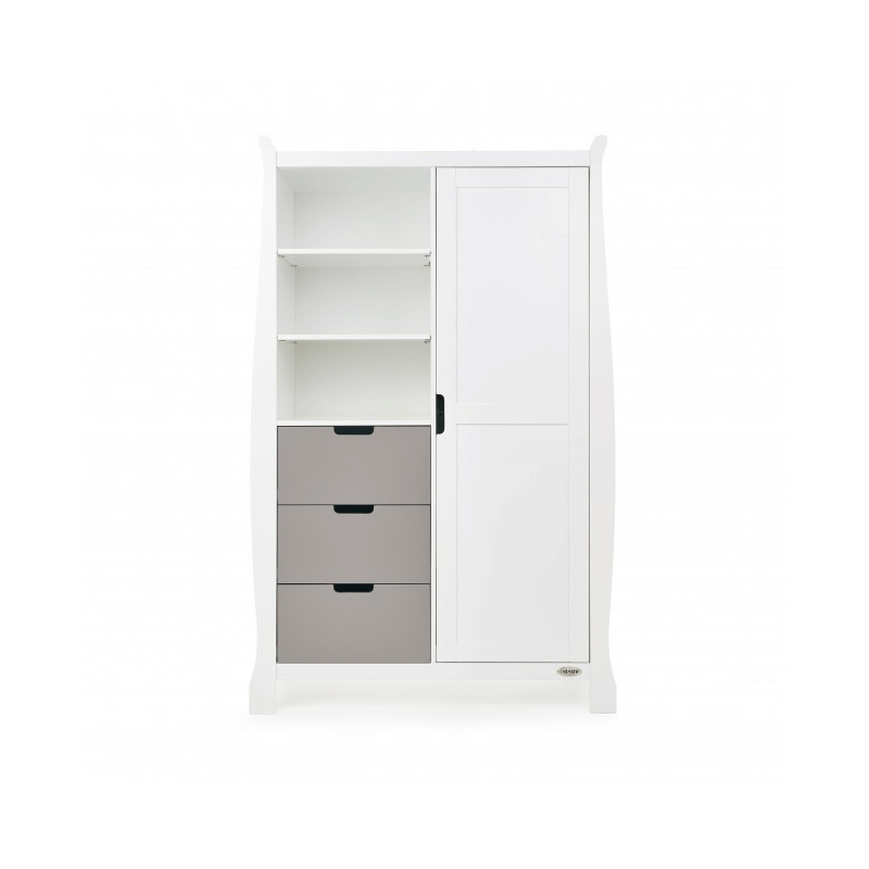Obaby Stamford Double Wardrobe - White with Taupe Grey