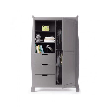 Obaby Stamford Mini 3 Piece Room Set - Taupe Grey Wardrobe Open