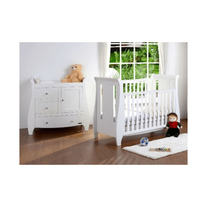 Tutti Bambini Lucas 3 Piece Sleigh Room Set - White Inside