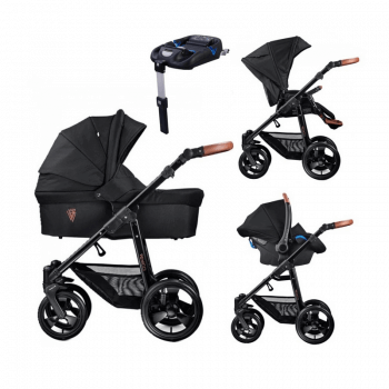 Venicci Gusto 3-in-1 Travel System & Isofix Base - Black