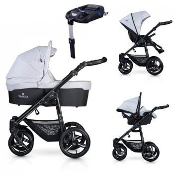 Venicci Soft 3-in-1 Travel System & Isofix Base - Light Grey / Black