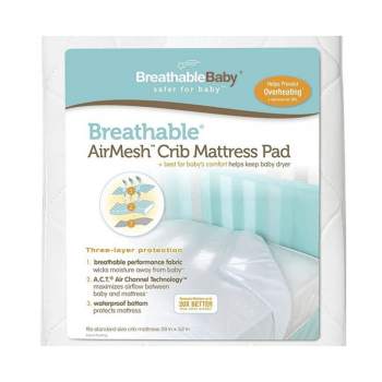 BreathableBaby Fitted 3-in-1 Mattress Pad - White Pack