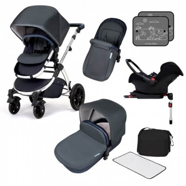Ickle Bubba Stomp V4 All in One Travel System with ISOFIX Base - Blueberry Chrome
