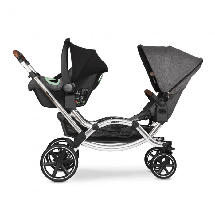 ABC Design Zoom Double Tandem Pushchair Side View 1 Seat 1 Carrycot