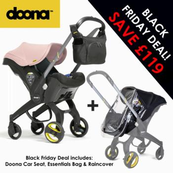Doona Group 0+ Car Seat Stroller + FREE Raincover & Changing Bag – Blush Pink