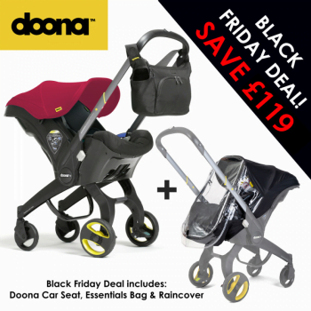 Doona Group 0+ Car Seat Stroller + FREE Raincover & Changing Bag – Flame Red