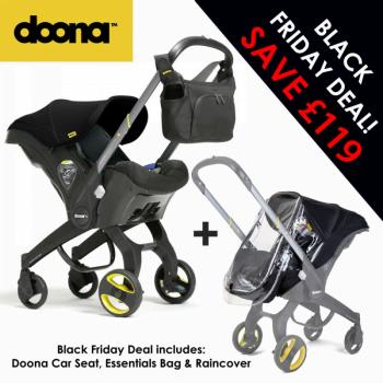 Doona Group 0+ Car Seat Stroller + FREE Raincover & Changing Bag – Nitro Black