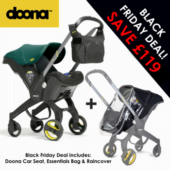 Doona Group 0+ Car Seat Stroller + FREE Raincover & Changing Bag – Racing Green