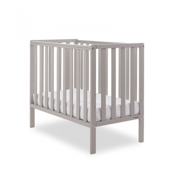 Obaby Bantam Space Saver Cot- Warm Grey- Side View Lowest Setting