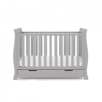 Stamford Mini Sleigh Cot Bed- Warm Grey- Cot Lowest Setting
