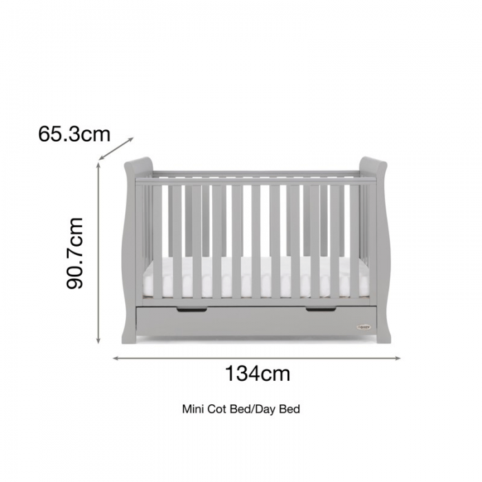 Stamford Mini Sleigh Cot Bed- Warm Grey- Dimensions