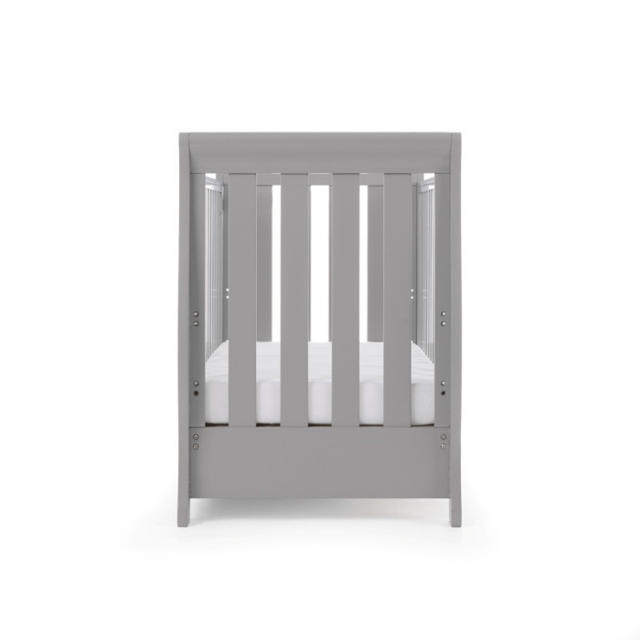 Stamford Mini Sleigh Cot Bed- Warm Grey- End View