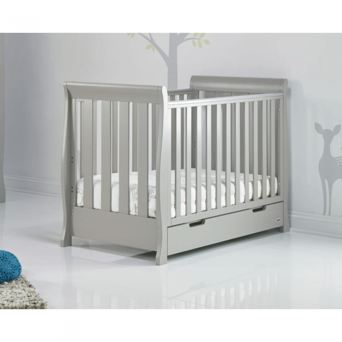 Stamford Mini Sleigh Cot Bed- Warm Grey- Lifestyle Image