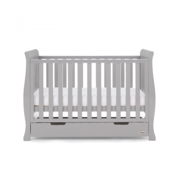 Stamford Mini Sleigh Cot Bed- Warm Grey- Mid Level Cot