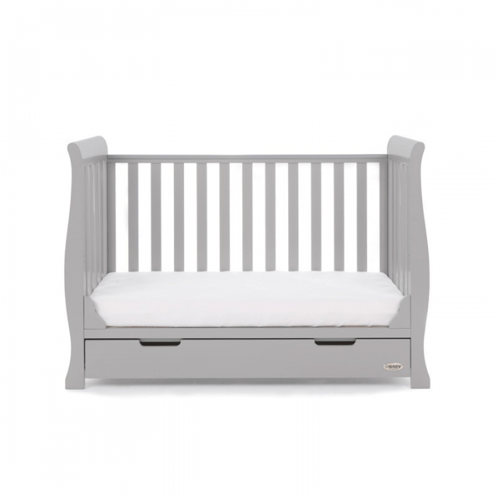Stamford Mini Sleigh Cot Bed- Warm Grey- Toddler Bed one side removed.
