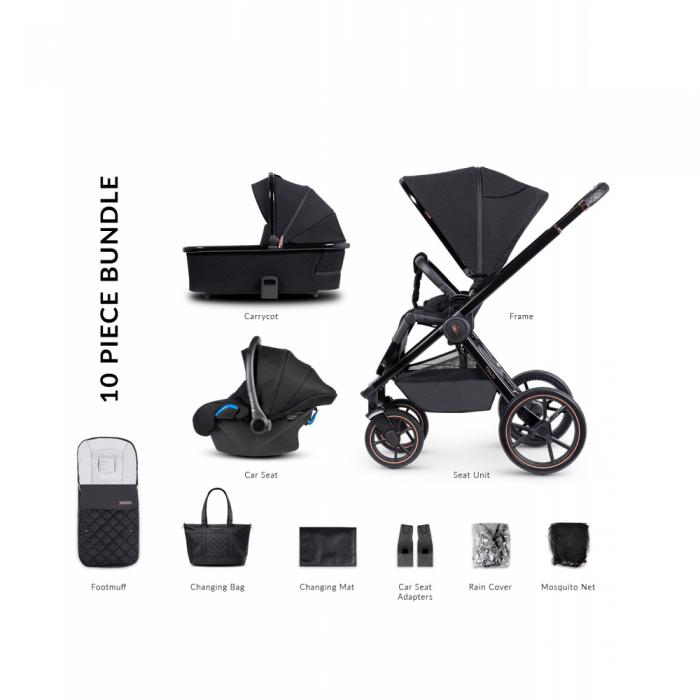 Venicci Tinum Special Edition 3 in 1 Travel System - Stylish Black (10 Piece Bundle)