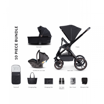 Venicci Tinum Special Edition 3 in 1 Travel System with i-Size Car Seat– Stylish Black (10 Piece Bundle)