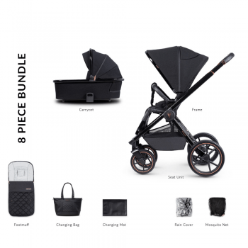 Venicci Tinum Special Edition 2 in 1 Pram and Pushchair - Stylish Black (8 Piece Bundle)